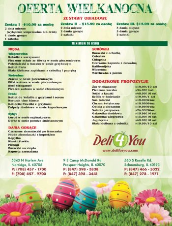 deli 4 you easter menu 2019